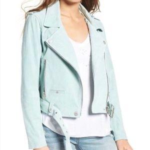 Blank NYC Suede Moto Jacket in Mint Green
